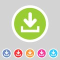 Download Upload Flat Icon, Button Set, Load Symbol Royalty Free Stock Photography - 42724867