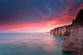 Fire Sunrise Over Cliffs In Atlantic Ocean Royalty Free Stock Image - 42742716