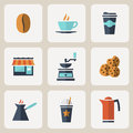 Flat Design Coffee Icons Set Royalty Free Stock Photo - 42743415
