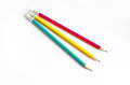 Pencils Red Yellow Green , Three Pencils On White Background , Pencils, Shallow Depth Royalty Free Stock Photo - 42770415