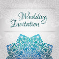 Lacy Vector Wedding Card Template. Romantic Vintage Wedding Invitation. Abstract Circle Floral Ornament. Royalty Free Stock Photography - 42790387