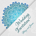 Lacy Vector Wedding Card Template. Romantic Vintage Wedding Invitation. Abstract Circle Floral Ornament. Stock Image - 42790471
