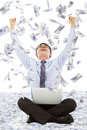 Business Man Making A Successful Pose With Money Rain Background Royalty Free Stock Photos - 42808508