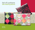 Set Of Cushions And Pillows With Matching Seamless Patterns Stock Image - 42816371