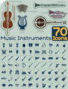 70 Music Instruments Icons Vector Set Royalty Free Stock Photo - 42830075