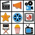 Set Of 9 Cinema Web And Mobile Icons. Vector. Stock Photos - 42834293