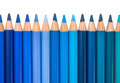 Row With Blue And Green Colored Crayons Royalty Free Stock Image - 42837256