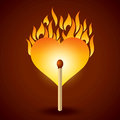 Burning Match Fire Was A Heart Shape. Royalty Free Stock Images - 42858789