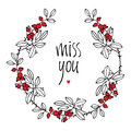 Miss You Design Card With Floral Vignette, Leaves And Red Berrie Stock Photos - 42885883