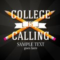 College Is Calling Greeting With Two Crossed Stock Photo - 42888000