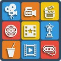 Set Of 9 Cinema Web And Mobile Icons. Vector. Stock Photo - 42901980