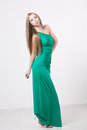 Woman In Beauty Fashion Green Dress Royalty Free Stock Photos - 42909248