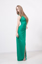 Woman In Beauty Fashion Green Dress Stock Images - 42909254