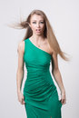 Woman In Beauty Fashion Green Dress Royalty Free Stock Image - 42909266