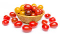 Different Varieties Of Cherry Tomatoes In A Basket Royalty Free Stock Image - 42927036
