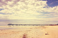 Retro Vintage Instant Filter Wide Open Beach With Beautiful Cloud Sky Royalty Free Stock Photos - 42928568