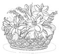 Basket With Flowers, Contours Stock Photography - 42934832