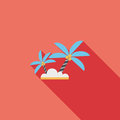 Palm Tree Flat Icon With Long Shadow Stock Photo - 42935800