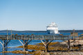 Wood Pier And Cruise Ship Royalty Free Stock Photography - 42938187