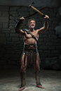 Gladiator With Sword And Axe Royalty Free Stock Photography - 42959247