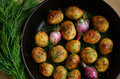 Homemade Whole Fried Young Potato And Onion Royalty Free Stock Photography - 42969277