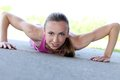 Sport. Attractive Girl During Push-ups Stock Images - 42970254