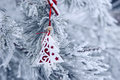 Christmas Background With Snow-covered Christmas Tree And Christmas Toy Stock Photo - 42992380