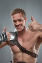Gladiator In Armour Pointing At Something Over Royalty Free Stock Images - 42994299