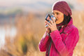 Girl Drinking Coffee Stock Images - 43003674