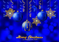 Holiday Blue Background With Christmas Ornaments Stock Photography - 43007922