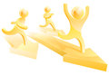 Gold People Running Race Stock Images - 43008314
