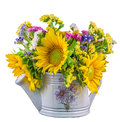 Yellow Sunflowers And Colored Wild Flowers In A White Sprinkler, Close Up Stock Images - 43008524