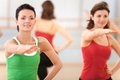 Waist Up Portrait Of Instructor With Fitness Class. Royalty Free Stock Images - 43013989