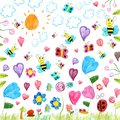 Meadow Scribbles - Child Drawings Background Stock Photography - 43030252