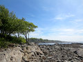 Rocky Beach With Trees At Ryefield Cove With Clouds In The Sky O Stock Photo - 43065160