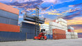 Forklift Handling The Container Box At Dockyard With Beautiful S Stock Photo - 43065500