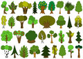 Cute Doodle Trees, Tree Doodles Set, Isolated On White Royalty Free Stock Photos - 43071708