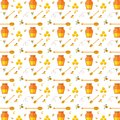 Seamless Pattern With Bee And Honey Stock Image - 43072341