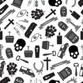 Funeral Icons Grayscale Seamless Pattern Stock Photography - 43079892