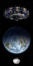 Alien Mothership UFO Nearing Earth With Copy Space Background Stock Photos - 43086273