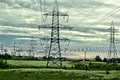 Power Lines In The Field Royalty Free Stock Photos - 43106398
