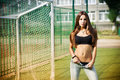 Beautiful Young Woman On The Football Field Royalty Free Stock Image - 43113426