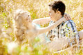 Happy Young Adult Couple In Love On The Field. Two,  Man And Wom Royalty Free Stock Image - 43114676
