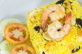 Garnished Yellow Fried Rice With Shrimps Stock Images - 43120114