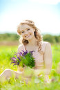 Young Beauty Smiling Woman In The Field, On The Grass. Girl Rest Royalty Free Stock Photo - 43121485