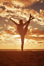 Young Beautiful Slim Woman Silhouette Practices Yoga On The Beac Stock Image - 43124621