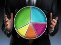 Businessman Holding A Colorful Pie Chart Royalty Free Stock Photo - 43126825