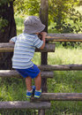 Child Climbing The Fence Royalty Free Stock Photography - 43130867