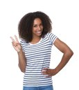 Black Woman Showing Two Fingers Peace Sign Stock Photo - 43144450
