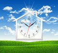 House Icon With Clock Face Stock Image - 43151291